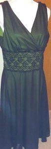 Geogous green dress black over lay
